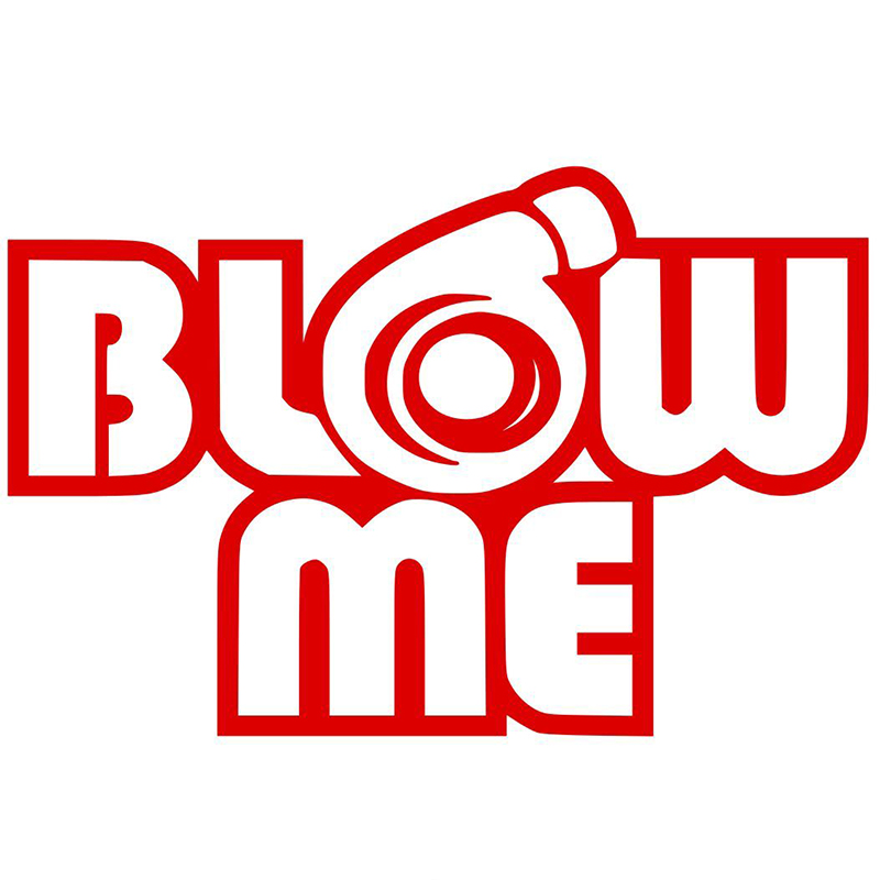 HotMeiNi 32.5CM x 50CM Blow Me Turbo Funny Car Sticker For Cars Door Side Window Rear Windshield Vinyl Decal 8 Colors