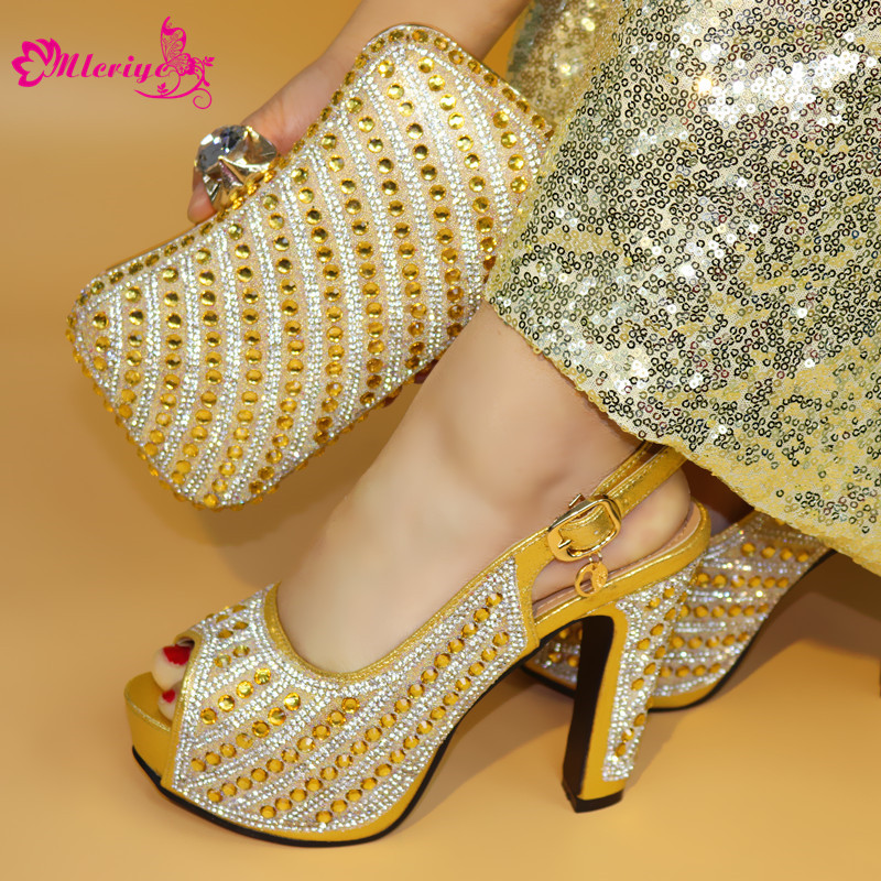 2872 golden Pumps 2018 African Women Shoes And Bag Set With Rhinestones Pumps Italian Shoes With Matching Bag For Evening Party