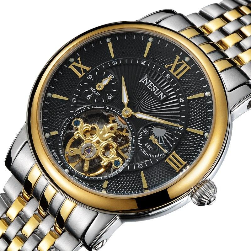 Suisse Nesun Creux Tourbillon Montre Hommes Marque De Luxe Automatique Mécanique Hommes de Montres Saphir Étanche horloge N9091-6