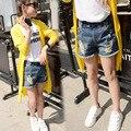 Alta Qualidade Criança buraco verão jeans shorts jeans buraco azul jeans meninos meninas crianças DESGASTE elástica Para 2-16Y