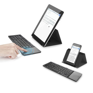 Image 5 - Mini Tragbare Zweimal Folding Bluetooth Tastatur BT Drahtlose Faltbare Touchpad Tastatur für IOS/Android/Windows ipad Tablet