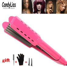 Professional ceramic corrugated iron for wave corrugation flat irons curling cone adjust temperature Wide hair Wave Plate-019 salon styles hair straightener adjust temperature flat iron curling irons for smooth hair 100 240v