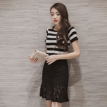 2016 New Women's Skirt High Waist Skirt Sexy Stitching Elastic Bag Hip Skirt Lace Fiahtail Solid Black Red Plus Size S-5XL Skirt