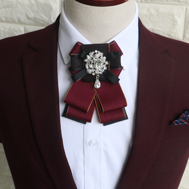British Adult Men Women Wedding Business Party Bowtie Accessories Vintage Elastic Band Crystal Rhinestone Ribbon Necktie Bow Tie