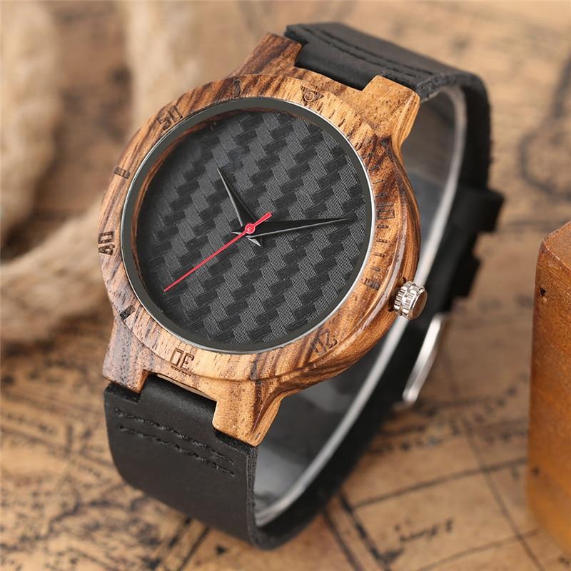 Creative Bamboo Wood Watch Naturligt Svart Läderband Minimalist - Herrklockor - Foto 2