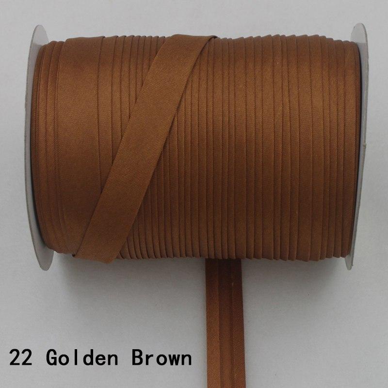 """100 ярд полиэстер 5/""""(15 мм) атласная косая лента косая Привязка сплошной цвет для пошив одежды «сделай сам» и обрезки - Цвет: 22     golden brown"""