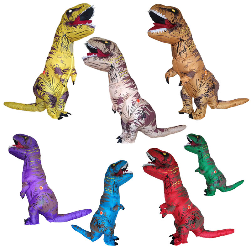 Inflatable Dinosaur T REX Costume Red Blue Green Brown Dinosaur Cosplay Inflatable Costume Party Costume For Men Women Adult