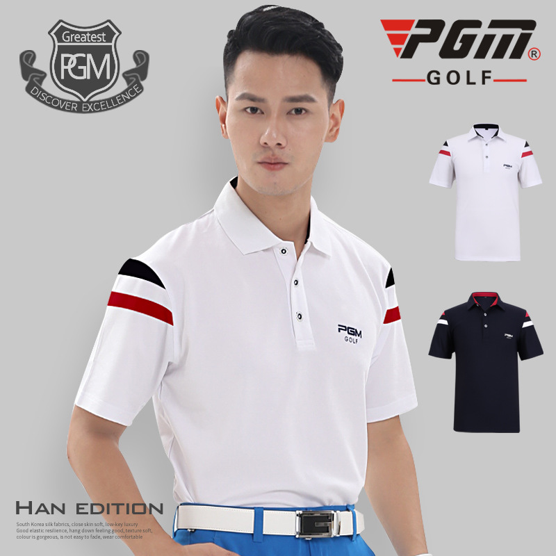 PGM Golf T-shirt For Men Breathable Summer Mans Sports T-shirt Anti-sweat Polyester Professional Golf Clothing Polo T-shirt