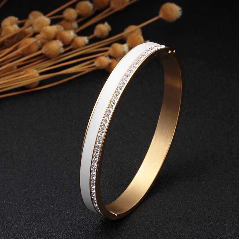 الجمال الفولاذ المقاوم للصدأ السيراميك الراتنج النساء أساور السيدات الفاخرة كريستال Charm أساور مجوهرات الزفاف هدية