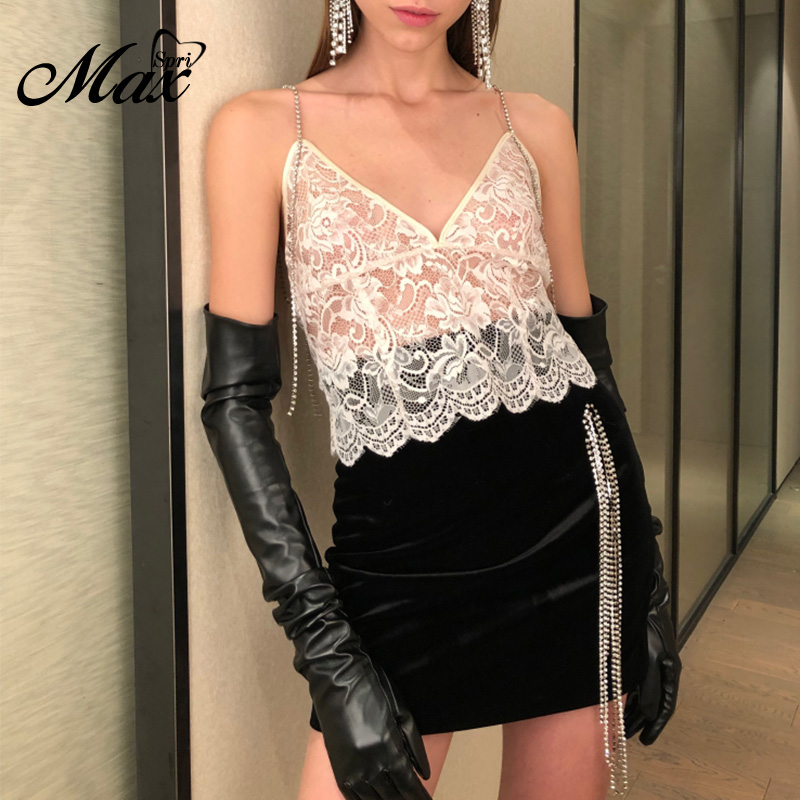 Max Spri 2019 New Fashion Sexy Spaghetti Strap Sleeveless Top Deep V-neck Floral Lace