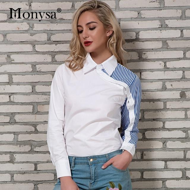 Camisa listrada Mulheres 2018 Primavera New Arrivals Moda Patchwork Collar  Manga Comprida Blusas Ladies Streetwear Blusas d0752ecb2850
