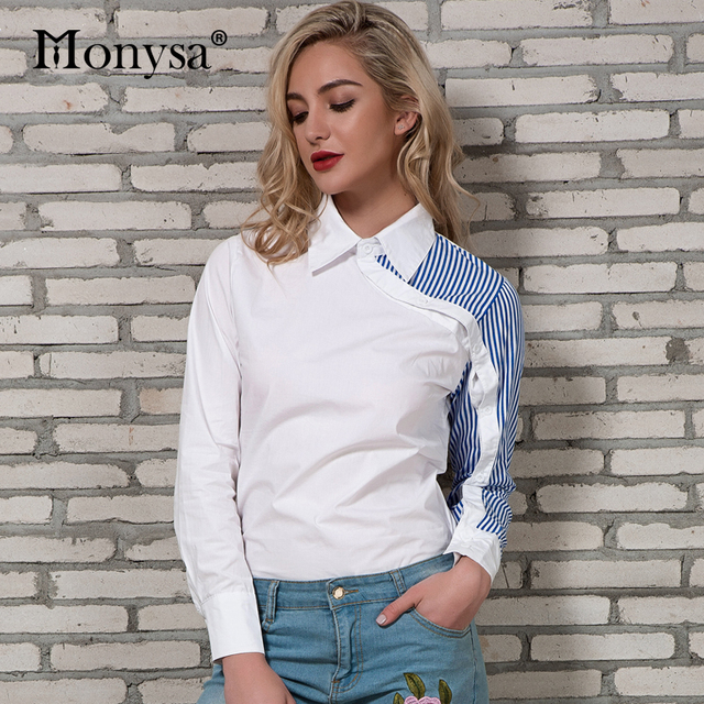 Striped Shirt Women 2018 Spring New Arrivals Fashion Collar Patchwork Long Sleeve Blouses Ladies Streetwear Blouses White