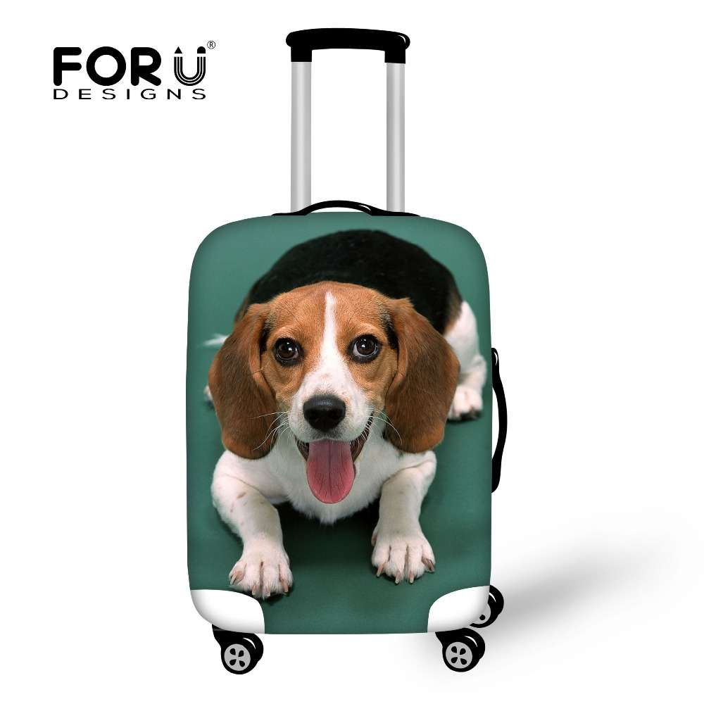 FORUDESIGNS Elastic Travel Accessories 3D Beagle Corgi Prints Spandex Luggage Protective Cover For 18-30inch Suitcase Case Cover