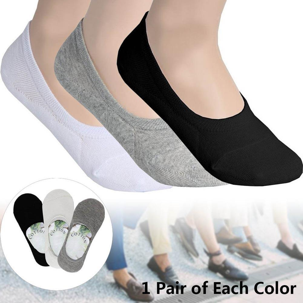3 Pairs Men Socks Comfortable loafer Boat Liner Low Cut Hidden Socks Black + White + Grey Invisible Shallow mouth Men socks
