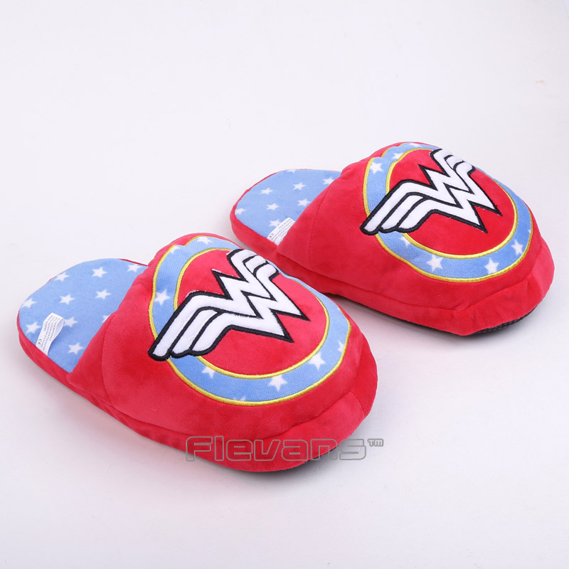 Super hero Wonder Woman Adult Plush Slippers Soft Toys Shoes Home House Winter Indoor Slippers