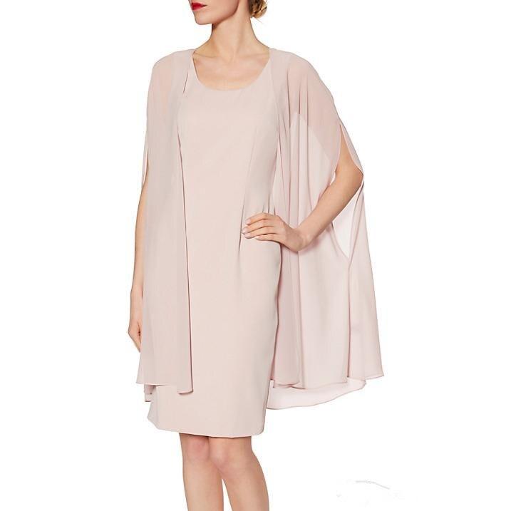 Knee Length Chiffon Mother Of The Bride Dresses 2019 Vestido De Madrinha Elegant Formal Evening Summer Groom Gowns With Jacket