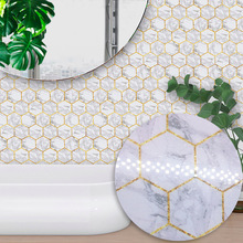 Funlife Bathroom Kitchen Home Decor Wall Stickers White Hexagon Marble Style Tiles Stickers Living Room Bedroom Wall Stickers