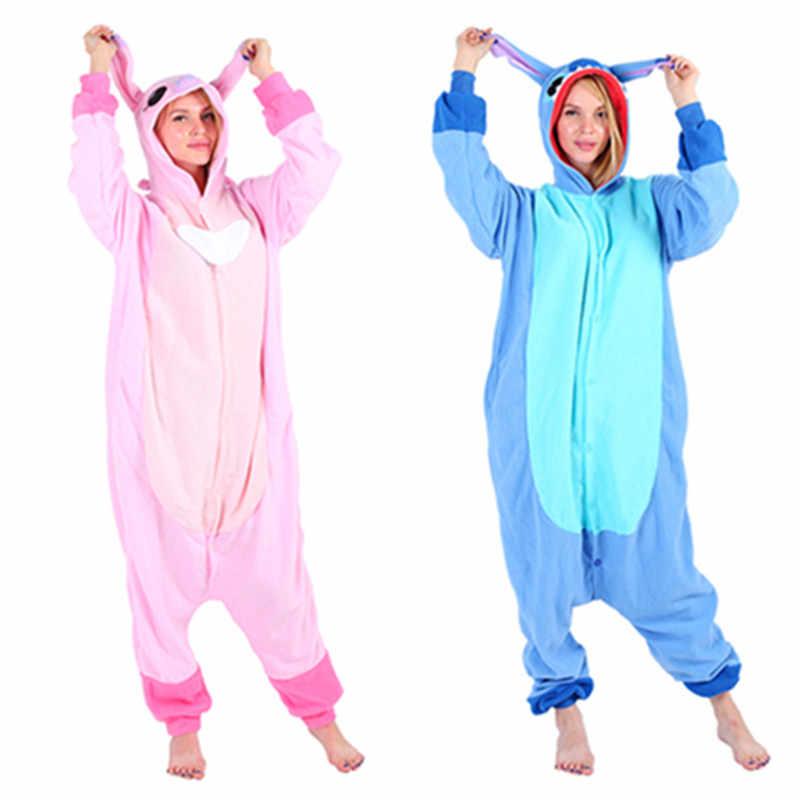 New Adult Animal Kigurumi Pajamas Costume Cosplay Blue Stitch Angel Lilo Aliexpress