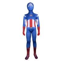 Kids Captain America Costume Superhero Series Full Bodysuit Captain America Cosplay Tights Anime Costume Holiday Party