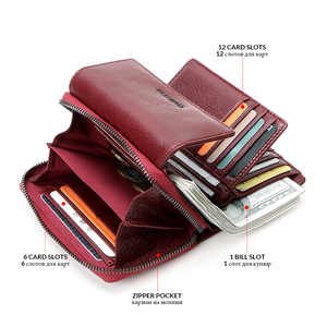 Image 4 - Contacts Genuine Leather Wallet women Short Coin Wallets for Women female Card Holder Small hasp Money Bag portfel damski