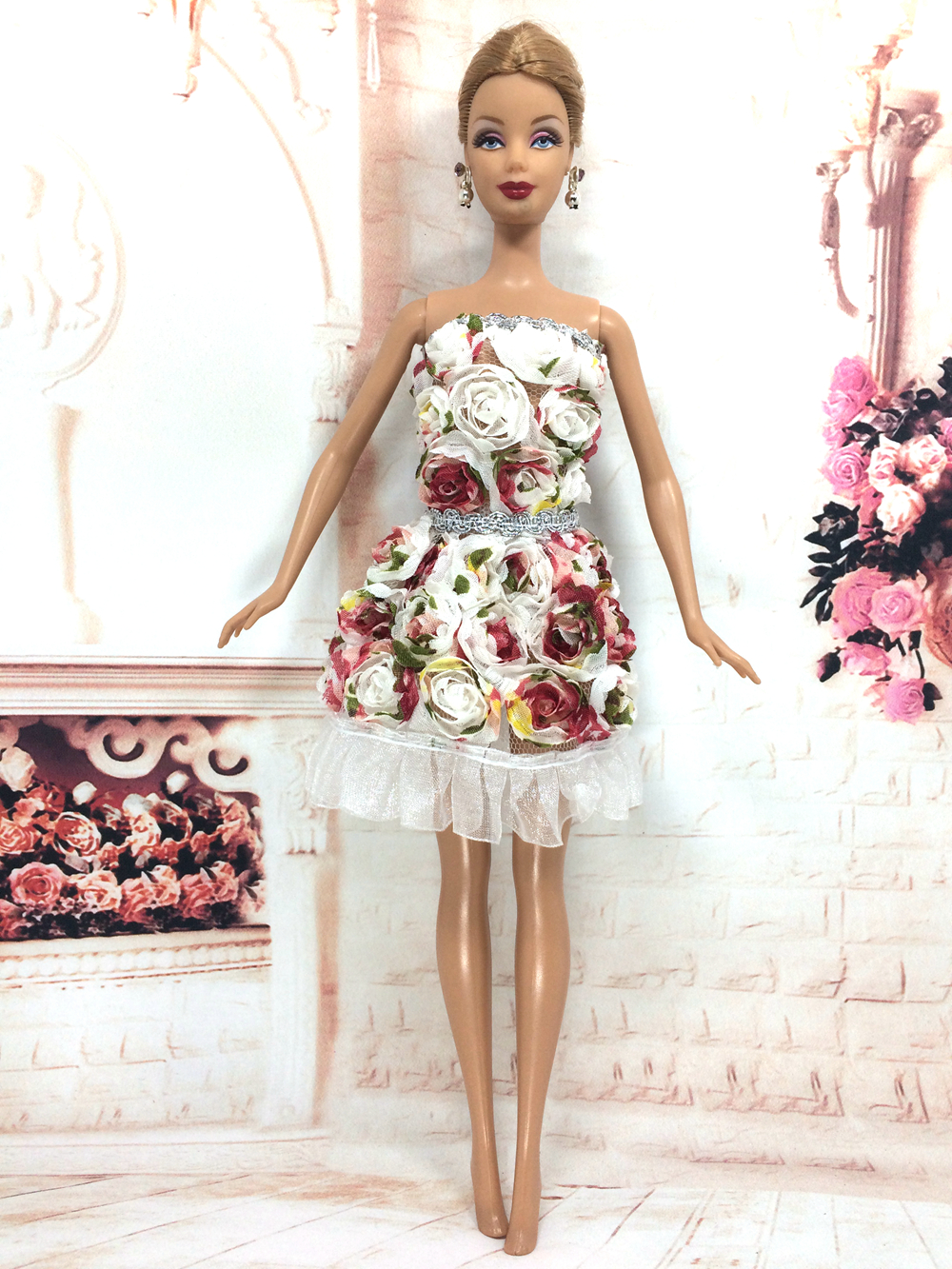 NK 2018 Newest Doll Dress Beautiful Handmade Party ClothesTop Fashion Dress For Barbie Noble Doll Best Child Girls'Gift 054A