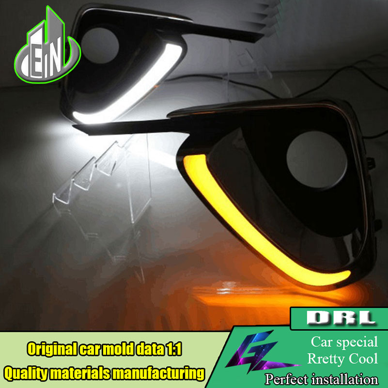 Car styling For Toyota Fortuner 2015 2016 2017 Turn Yellow Signal Style Waterproof ABS DRL LED Daytime Running Light Daylight yatour car adapter aux mp3 sd usb music cd changer 6 6pin connector for toyota corolla fj crusier fortuner hiace radios