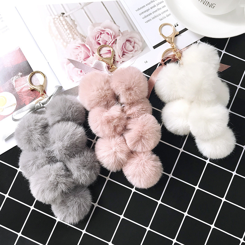 Fancy&Fantasy New Fruit Pom Pom Ball Key Chain Faux Rabbit Fur Pompom Grape Keychain Women Bag Pendant Charms Key Ring Llavero