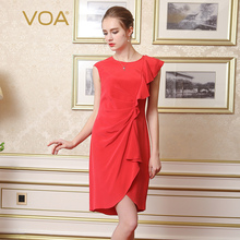 Vestidos Mujer VOA Brand Silk Solid Red Women Dress 2017 Summer Ruffles O-Neck Brief Knee-Length Vestido Female A6561