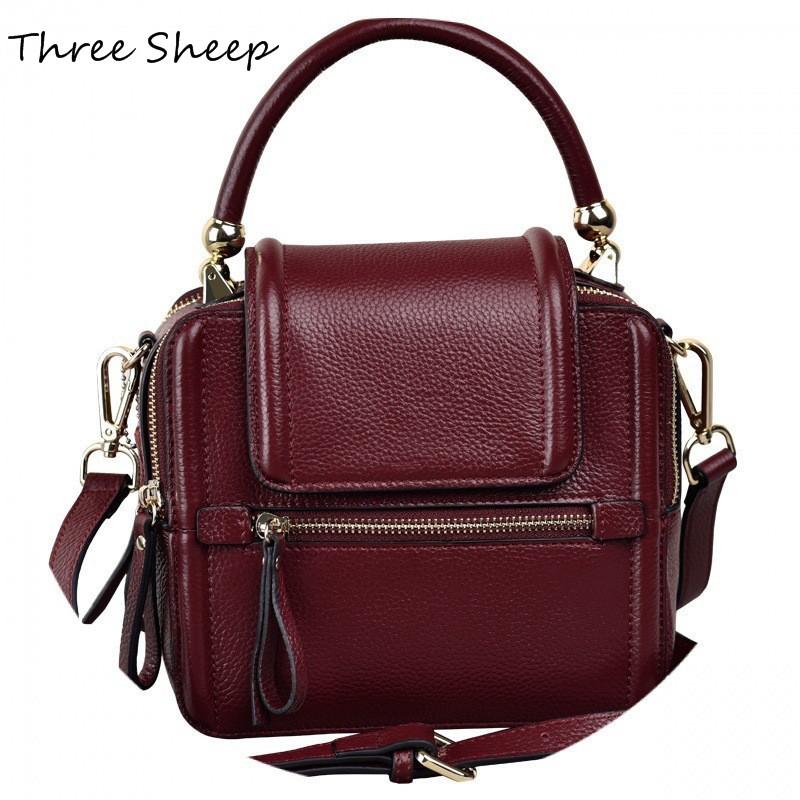 los mini bolsos de las mujeres bolsos de mano del diseador rojo vino de la