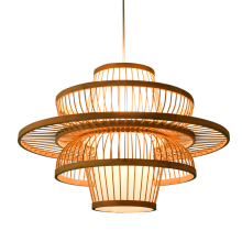 Chinese Bamboo LED Chandelier Lighting Garden Restaurant Pendant Lamp Hotel Farm Teahouse Lantern Tatami Hanging