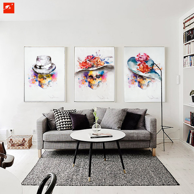 Bedroom Wall Decor Art Ideas: Modern Watercolour Fashion Skull Painting Set Abstract
