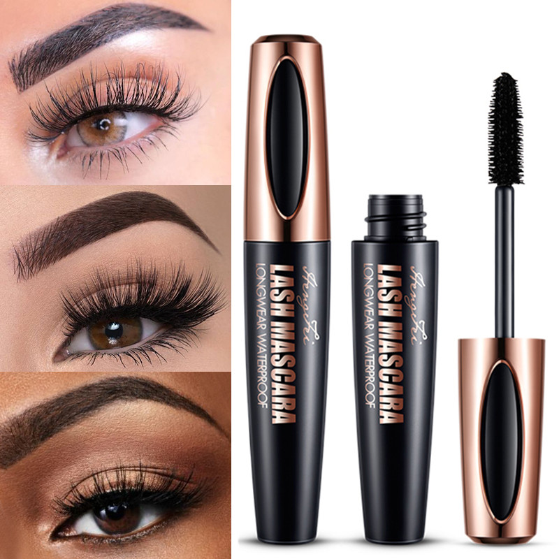 4d silk fiber mascara waterproof and easy to dry natural soft long eyelash makeup mascara black thick eyelash cosmetics image
