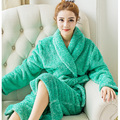 Couples Flannel Sleepwear Pajamas Women Coral Fleece Nightgown Women Gown Robes Lounge Bathrobe Winter Warm Kimono Dressing 264