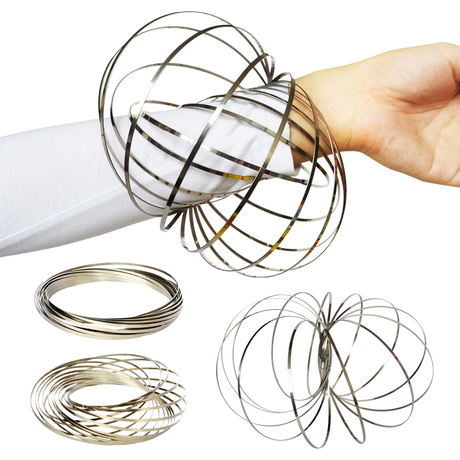 Amazing Flow Ring Toys Kinetic Spring Toy Funny Outdoor Game Intelligent Toy Metal Fidget Spinner Magic Hand Ring Spinner