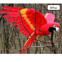 big real life red&yellow parrot model foam&feather simulation wings bird gift about 45x60cm xf0246