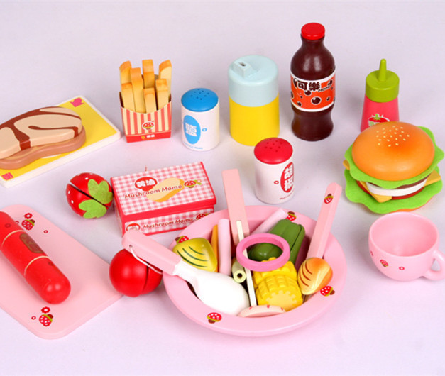 Toys Paradise Baby Toys Kids Play House Western Lunch Food Set Wooden Toys Baby Hamburger Kitchen Toys Birthday Gift cute hamburger lunch box with utensils set