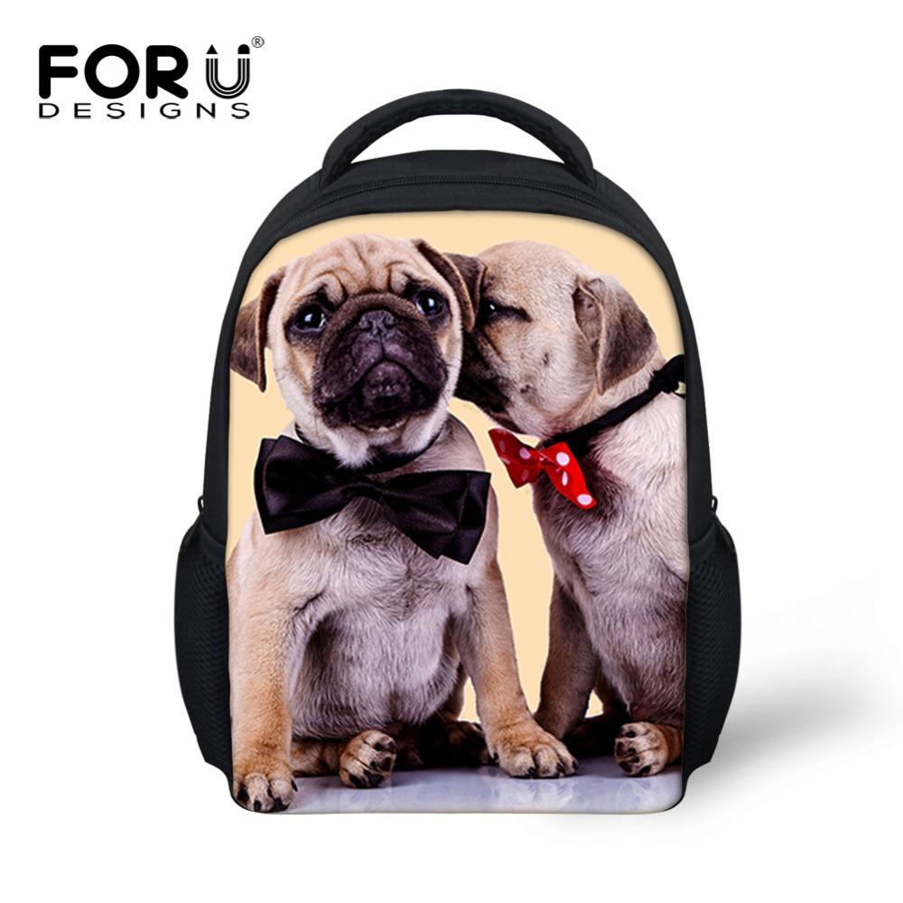 Brand Kids School Backpack for Baby Girls Animal Cute Pug Dog Cat Print Children Casual Backpack Kindergarten Travel Rucksack stuffed dog plush toys black dog sorrow looking pug puppy bulldog baby toy animal peluche for girls friends children 18 22cm