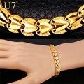 U7 amor corazón joyería pulseras para hombres de las mujeres chapado en oro al por mayor del acoplamiento de cadena de regalo de san valentín amor pulseras de marca femenina h792