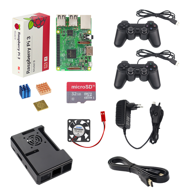 UK Raspberry Pi 3 Model B Game Kit + 2 Game Controller +32G 16G SD Card + Case + 3A Switch Power Supply +Heat Sink + HDMI Cable 3pcs adhesive raspberry pi heatsink cooler pure aluminum heat sink set kit radiator for cooling raspberry pi 2 b