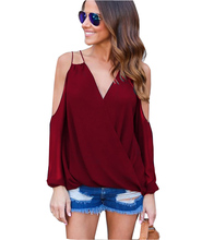 Women Sexy Sling Off Shoulder V-Neck Chiffon Shirt Blouse Lady  Sling ChiffonTop Shirt  Female  Long Sleeve  Blusa Cool Blouse