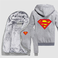 Winter Thicken Fleece Unisex Hoodie Superman Jacket Sweatshirts Coat Clothing Casual