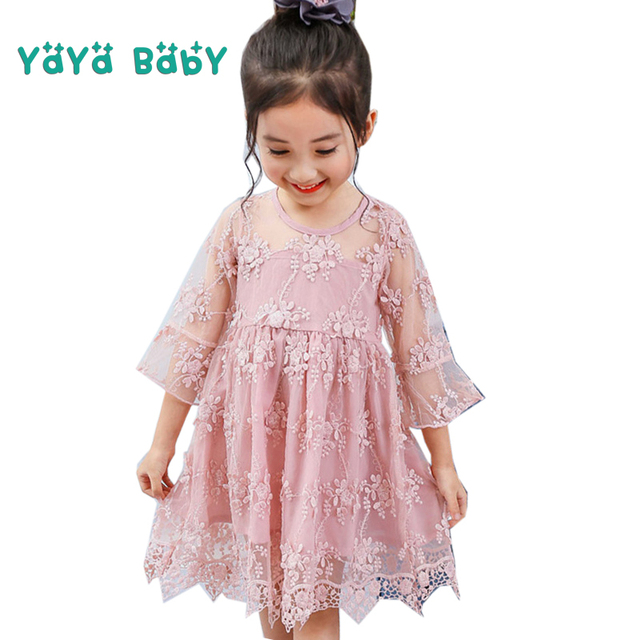 72bcf1bfdd30 Lace Flower Elegant Girls Dress 2018 New Summer 3 4 5 6 7 8 Year kids Clothes  Children Princess Dresses for Wedding Party