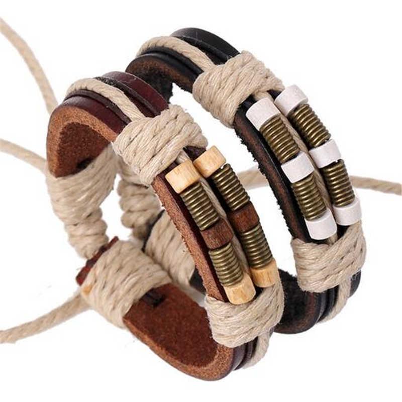 ZOSHI tanie ręcznie etniczne bransoletki Unisex dziewczyny kobieta skórzana bransoletka Wrist band wiosna urok skórzana bransoletka dla mężczyzn