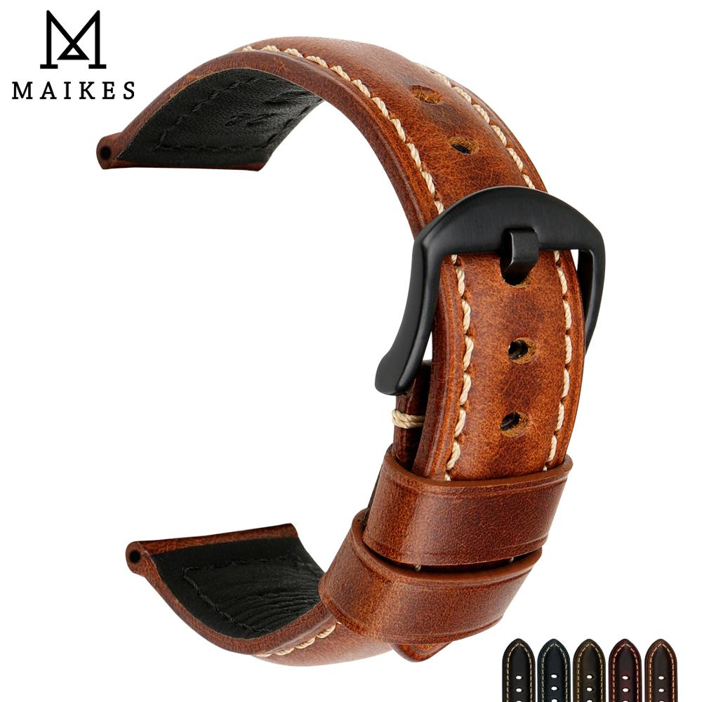 цена на MAIKES Handmade Vintage Leather Watch Band 20mm 22mm 24mm 26mm Watch Accessories Watch Strap Bracelet Wristband For Panerai