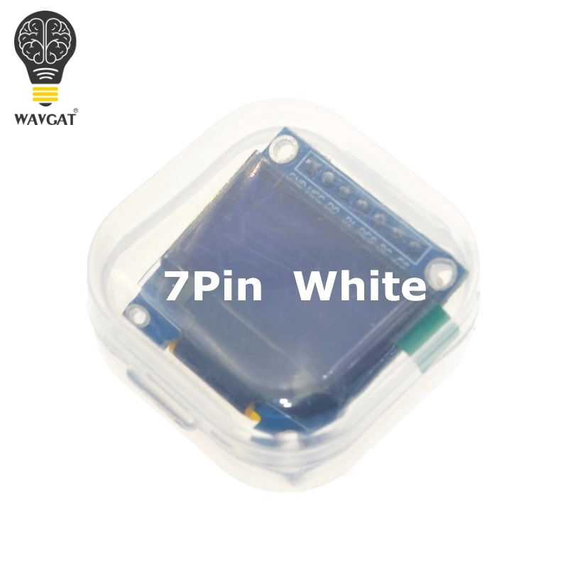 WAVGAT 0.96 Inch SPI OLED Display Module White color 128X64 OLED 7Pin Driver Chip SSD1306 for arduino