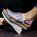 Las mujeres del cuero genuino de Tacón Alto Sandalias Del Dedo Del Pie cuadrado Zapatos de Tacón Alto Plataforma Cuñas Caminar Zapatos de Las Mujeres Zapatos Casuales