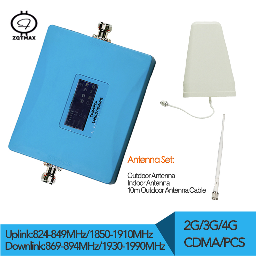 Gain 62dB 4g Signal Booster Antenna Set CDMA 850mhz PCS 1900mhz Cellphone Booster Extender Dual Band Network Booster Repeater