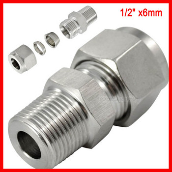 "DOUBLE FERRULE TUBE FITTING MALE CONNECTOR  6 MM ODx1/2"" NPT STAINLESS STEEL SS304 5pcs/lot"