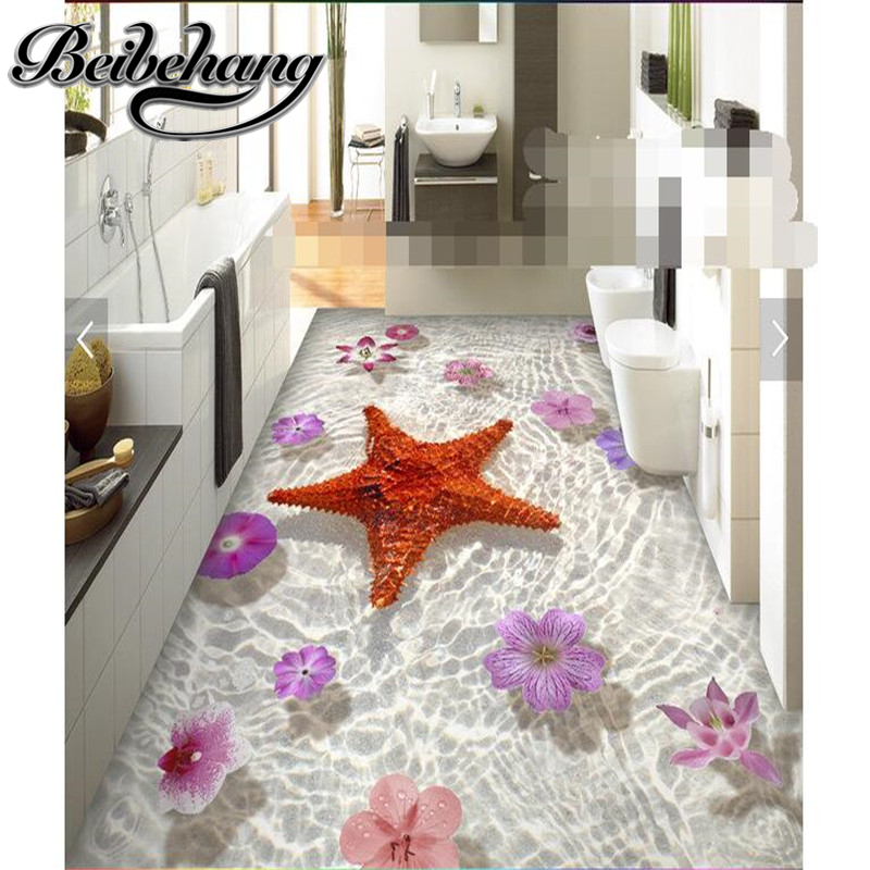 beibehang Floor HD clear seabed starfish flowers Waterproof Bathroom kitchen balcony 3d PVC Self wall sticker Floor painting