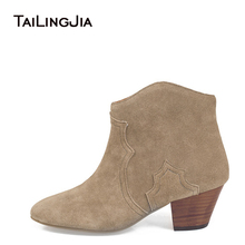 Faux Suede Woman Short Boots Mid Block Heel Classical Female Comfortable Retro Winter Fall Cowboy Boots Ankle Boots  Wholesale все цены